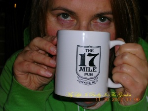 And there is D .. looking mysterious over a mug of java!